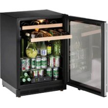 "Stainless Left hand, lock model 1000 Series / 24"" Beverage Center / Double Zone Temperature System"