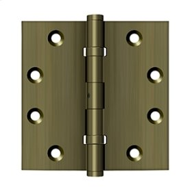 "4 1/2""x 4 1/2"" Square Hinges, Ball Bearings - Antique Brass"