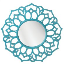 Distressed Turquoise Round Wall Mirror.