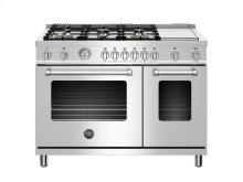 48 inch 6-Burner + Griddle, Gas Double Oven Stainless