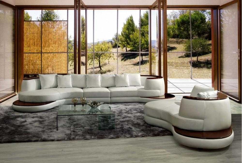 Superb Divani Casa Rodus   Rounded Corner Leather Sectional Sofa With Wood Trim