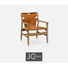 Midcentury Style Slung Medium Antique Chestnut Leather & Light Oak Easy Chair