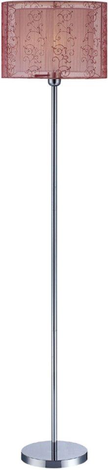 Floor Lamp, Chrome/burgundy Organza Shade, E27 Cfl 23w