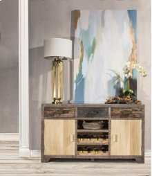 Bolero Sofa Table With Cabinets and Center Wine Rack