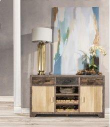 Bolero Sofa Table With Cabinets and Center Wine Rack