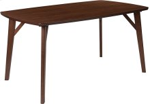Holden 35.5'' x 59'' Rectangular Walnut Finish Wood Dining Table with Clean Lines and Braced Legs