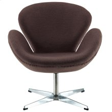 Wing Upholstered Fabric Chair in Dark Brown