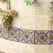 "6"" Geraniums Decorative Talavera Tiles"