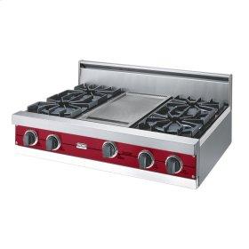 """Apple Red 36"""" Open Burner Rangetop - VGRT (36"""" wide, four burners 12"""" wide griddle/simmer plate)"""