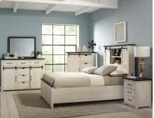 Madison County 4 PC Queen Barn Door Bedroom: Bed, Dresser, Mirror, Nightstand - Vintage White