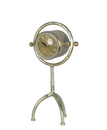 Metal Table Clock On 3 Leg Stand, Gold