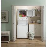 GE Ge Unitized Spacemaker® 3.8 Cu. Ft. Capacity Washer With Stainless Steel Basket And 5.9 Cu. Ft. Capacity Long Vent Electric Dryer