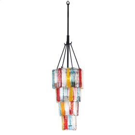 4 Tiered Blown Glass Multicolor Chandelier