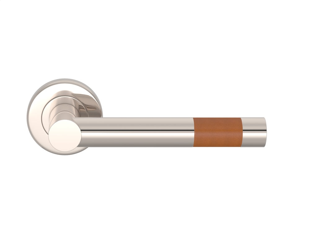 Barrel Short Stitch In Recess Leather In Tan And Polished Nickel