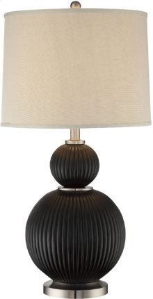 Table Lamp, Dark Walnut Finished/fabric Shade, E27 Cfl 23w