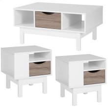 St. Claire Collection 3 Piece Coffee and End Table in White Finish with Oak Wood Grain Drawers