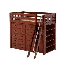 High Loft w/ Angle Ladder, 5 Drawer Dresser, Narrow 5 Drawer Dresser & Bookcase : Twin : Chestnut : Slat