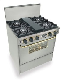 "30"" Dual Fuel, Convect, Self Clean, Open Burners, Stainless Steel with Bras"