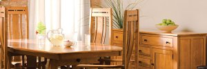 """Aspen Trestle Table with Inlay, 32"""" Butterfly Leaf"""