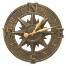 """Compass Rose 16"""" Indoor Outdoor Wall Clock - French Bronze Product Image"""