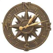 "Compass Rose 16"" Indoor Outdoor Wall Clock - French Bronze"
