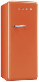 50'S Style Refrigerator with ice compartment, Orange, Right hand hinge