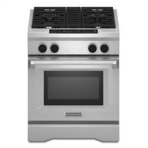 KitchenAid30'' 4-Burner Dual Fuel Freestanding Range, Commercial-Style - Stainless Steel