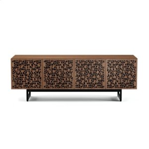 Quad Cabinet With Media Base in Mosaic Doors Natural Walnut -