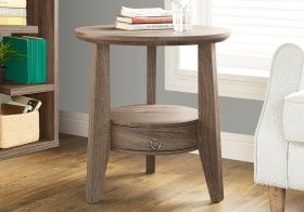"""ACCENT TABLE - 23""""DIA / DARK TAUPE WITH 1 DRAWER"""