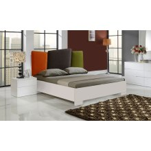 Monza Lacquer Bed With Linen Headboard