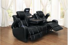 POWER Double Reclining Sofa with Drop-Down Cup Holders, Reading Lights, Receptacles and Magazine Bag