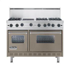 "Stone Gray 48"" Open Burner Commercial Depth Range - VGRC (48"" wide, six burners 12"" wide char-grill)"