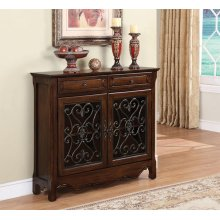 Cherry 2-Door, 2-Drawer Scroll Console