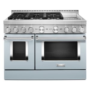 KitchenAid® 48'' Smart Commercial-Style Gas Range with Griddle - Misty Blue - MISTY BLUE