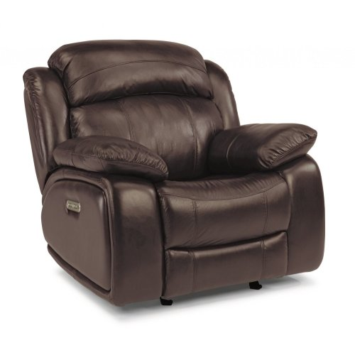 Como Leather Power Gliding Recliner with Power Headrest