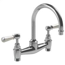 """White lever basin bridge mixer with 6 1/2"""" spout"""