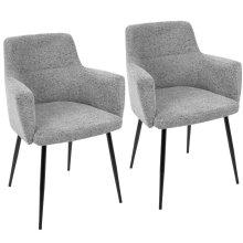 Andrew Chair - Set Of 2 - Black Metal, Dark Grey Fabric