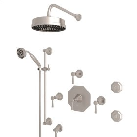 Satin Nickel Perrin & Rowe Deco Thermostatic Shower Package with Deco Metal Lever