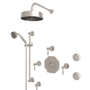 Satin Nickel Deco U.KIT58LS Thermostatic Shower Package with Deco Metal Lever