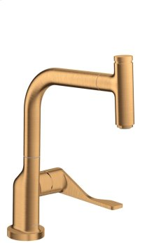 Brushed Gold Optic Single lever kitchen mixer Select 230 with pull-out spout