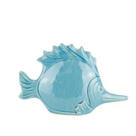 "Ceramic Fish DECOR,10.75"",TEAL"