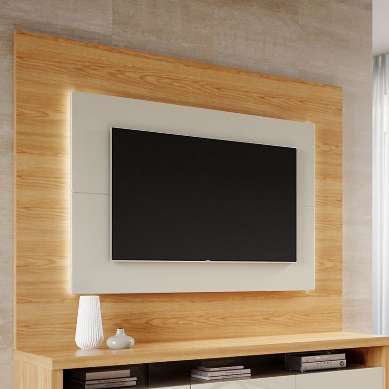 "Sylvan 85.43"" TV Panel with LED Lights in Nature Wood and Off White"