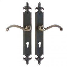"Fleur de Lis Multi-Point Entry Set - 2"" x 15"" Silicon Bronze Brushed"