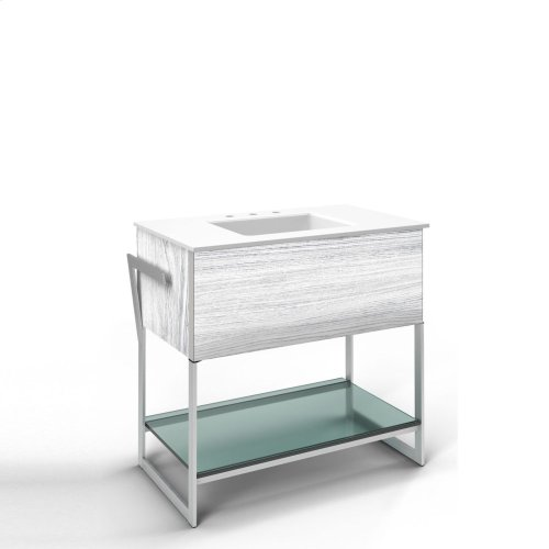 """36-1/4"""" X 34-3/4"""" X 21"""" Vanity In Bleached Oak With Slow-close Plumbing Drawer, Towel Bar On Left and Right Side, Legs In Brushed Aluminum and 37"""" Stone Vanity Top In Quartz White With Integrated Center Mount Sink and 8"""" Widespread Faucet Holes"""