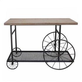 Metal / Wood Flat Top Cart, Brown