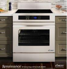 """Renaissance 30"""" Slide-In Induction Range, in Stainless Steel and Black Ceramic Glass, with Epicure® Style Handle in Stainless Steel with Chrome Trim, and 3-1/4"""" Side Panels"""