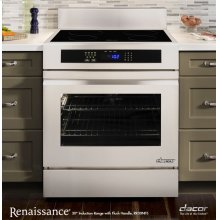 "Renaissance 30"" Slide-In Induction Range, in Stainless Steel and Black Ceramic Glass, with Epicure® Style Handle in Stainless Steel with Chrome Trim, and 3-1/4"" Side Panels"