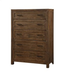 Emerald Home Pine Valley 5 Drawer Chest-burnished Pine Finish B744-05