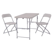 Blow Mold 3-pc Set Table Height Adjustable 4' and 2 Plastic Folding Chairs