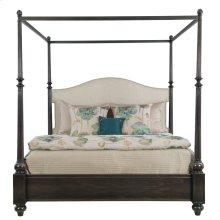 Queen-Sized Sutton House Upholstered Canopy Bed in Dark Mink (367)